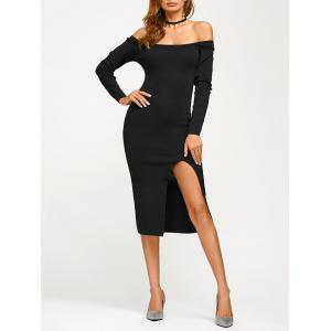 Off Shoulder Long Sleeve Pencil Dress - Black - One Size