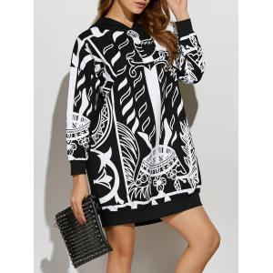 Drop Shoulder Print Hoodie Dress - Black - One Size