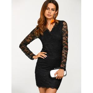 Lace V Neck Long Sleeve Mini Dress - BLACK XL