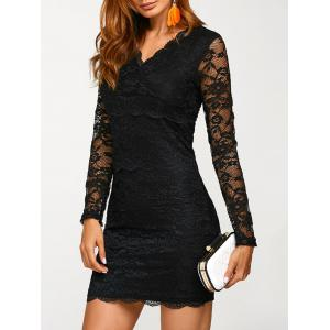 Lace V Neck Long Sleeve Mini Dress