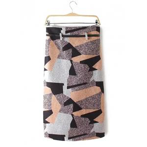 Geometry Patchwork Skirt with Belt - COLORMIX XL