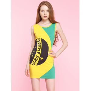 Letter Color Block Tank Bodycon Dress - Yellow - Xs