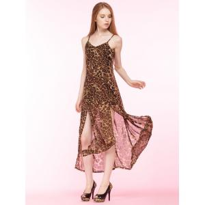 Cami Leopard Print High Slit Maxi Dress - BROWN 2XL