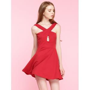 Cut Out Criss-Cross A-Line Mini Cocktail Dress - RED 2XL