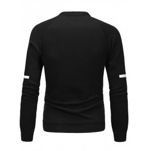 PU Spliced Cross Print Long Sleeve Sweatshirt - BLACK 3XL
