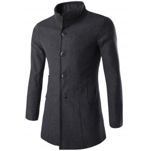 Long Sleeves Single-Breasted Woolen Blend Coat - Gray - M
