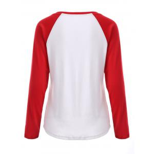 Plus Size Black Friday Print Raglan Sleeve Tee - RED WITH WHITE 4XL