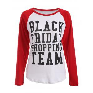 Plus Size Black Friday Print Raglan Sleeve Tee