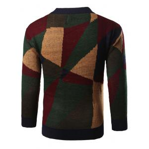 Geometric Print Color Block Knitted Sweater - GREEN 2XL