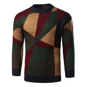 Geometric Print Color Block Knitted Sweater
