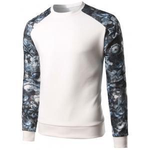 Floral Print Color Block Spliced Long Sleeve Sweatshirt