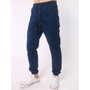 Number Embroidered Zipper Bmbellished Chino Jogger Pants - DEEP BLUE 4XL