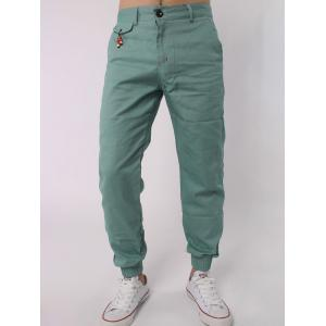 Zipper Fly Beads Embellished Chino Jogger Pants