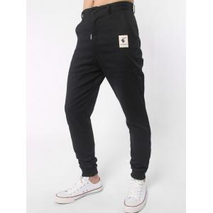 Elk Label Zipper Fly Spliced Beam Feet Jogger Pants - BLACK 31