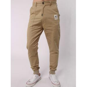 Elk Label Zipper Fly Spliced Beam Feet Jogger Pants