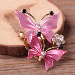 Butterflies Rhinestone Sweater Brooch - Pink