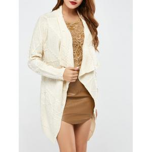 Long Sleeve Asymmetrical Long Open Front Cardigan - White - One Size