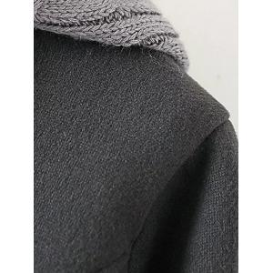 Wool Double Breasted Hooded Coat with Knitted Insert - GRAY ONE SIZE