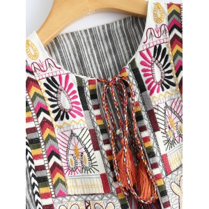 Round Neck Striped Embroidered Jacket -