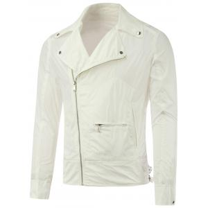 Lapel Diagonal Zipper Asymmetric Pocket Jacket - White - 2xl