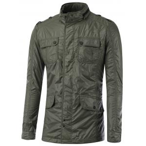 Stand Collar Multi Pocket Epaulet Design Jacket