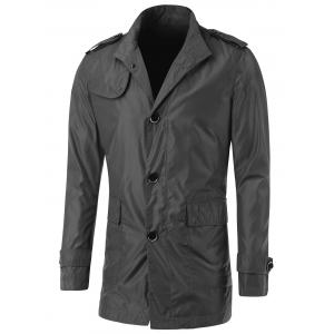 Turn-Down Collar Button Up Epaulet Design Jacket