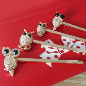 4 Pcs Alloy Owl Hair Accessory - GOLDEN