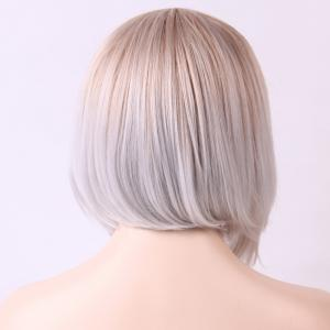 Full Bang Short Ombre Color Straight Heat Resistant Fiber Wig -