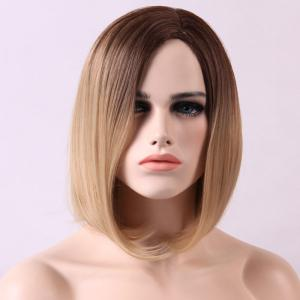 Short Straight Synthetic Ombre Side Parting Wig -