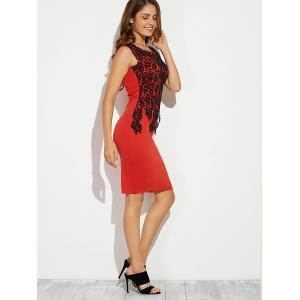 Sleeveless Lace Applique Slimming Dress - RED 2XL