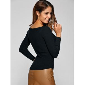 Ribbed encolure bateau Stretchy Tricots - Noir TAILLE MOYENNE