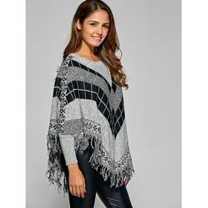 Fringed Loose-Fitting Plaid Sweater -