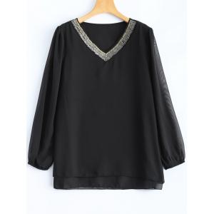 Plus Size Beaded Chiffon Blouse - Black - Xl