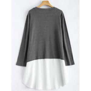 Plus Size Long Sleeve Chiffon Spliced Dress - GRAY XL