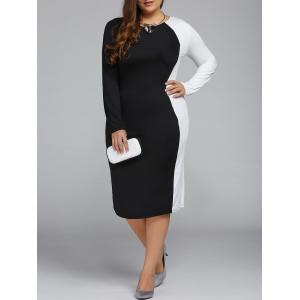 Plus Size Color Block Long Sleeve Sheath Modest Work Dress
