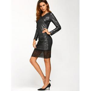 Lace Trim Insert Metallic Dress - BLACK GREY S