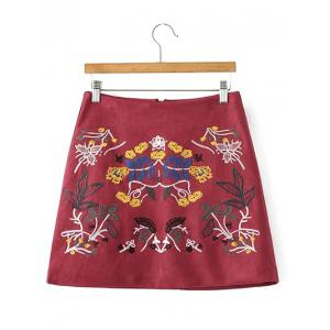 Faux Suede Skirt with Embroidery - Wine Red - M