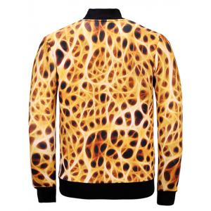 3D Leopard Print Stand Collar Jacket - COLORMIX XL