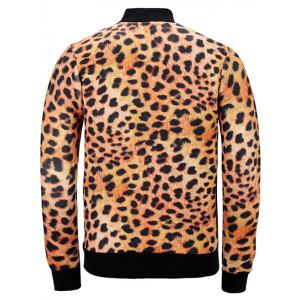 3D Leopard Printed Stand Collar Jacket -