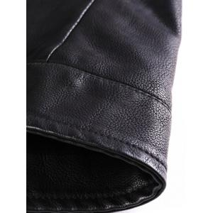 PU-Leather Stand Collar Zipper Embellished Jacket -