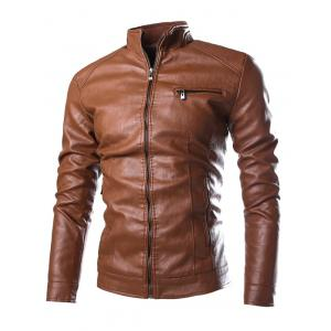 PU-Leather Stand Collar Zipper Embellished Jacket