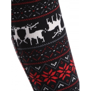 Deer Print Christmas Leggings - RED/BLACK ONE SIZE