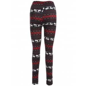 Deer Print Christmas Leggings - RED WITH BLACK ONE SIZE