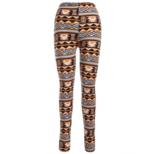 Aztec Print Ankle Leggings - Orange - One Size