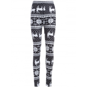 Snowflake Deer Print ChristmasLeggings - White And Black - One Size