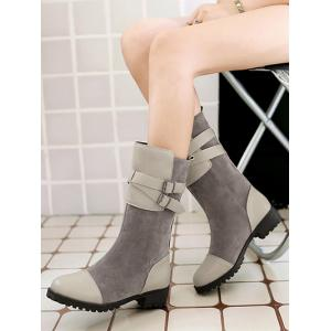Splicing Cross Straps Mid-Calf Boots -