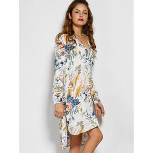 V Neck Long Sleeve Floral Tunic Dress -