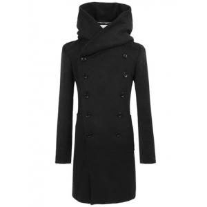 Longline Double Breasted Hooded Woolen Coat - Black - Xl