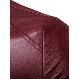 Stand Collar Rib Splicing Zip-Up Plus Size PU-Leather Jacket - WINE RED 5XL