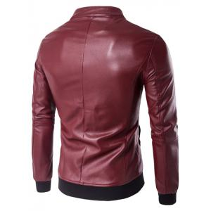Stand Collar Rib Splicing Zip-Up Plus Size PU-Leather Jacket -